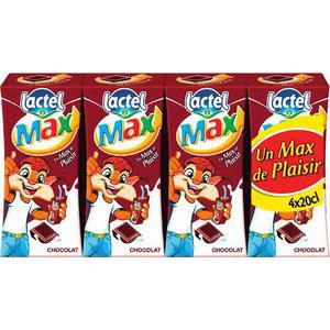Lot de 4 briques 20cl lait aromatisé Lactel MAX (chocolat ou fraise)