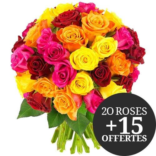 Bouquet de 35 Roses multicouleurs