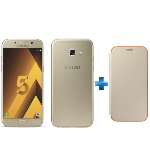 "Smartphone 5.2"" Samsung Galaxy A5 2017 Or + Neon Flip Cover Galaxy A5 2017 - Or (via ODR 50€)"