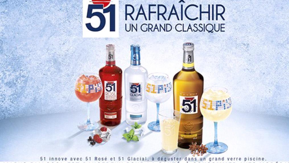 Kit Pastis 51 - Piscine/Classique - Glacial/Rosé (1 bouteille 70cl, 6 verres, 1 carafe, 1 bec doseur)