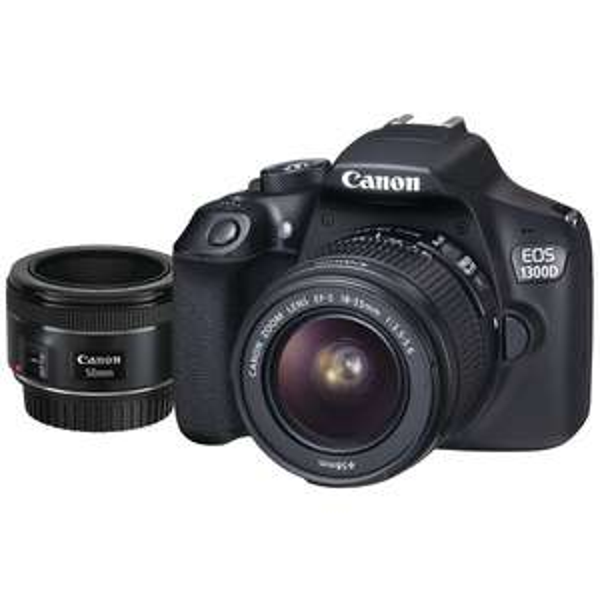Appareil Photo Canon Eos 1300D Kit EF-S 18-55mm / 3.5-5.6 DC + Objectif 50mm / 1.8 (Frontaliers Suisse)