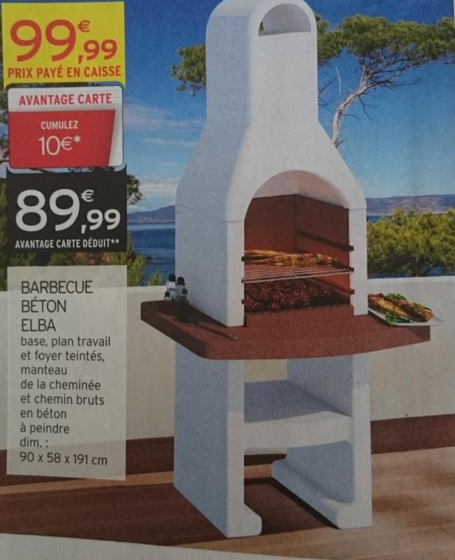 Barbecue béton - 90 x 58 x 191 cm (10€ sur la carte)