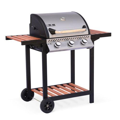 Barbecue au gaz Ernest - 3 brûleurs avec tablettes en bois