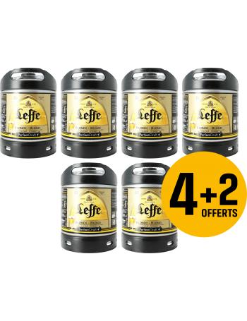 Lot de 4 Fûts de Bière Blonde Leffe + 2 Fûts au choix (Leffe ou Hoogaarden) - Via 30€ remboursés en Consigne