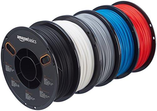 Lot de 5 Bobines Filament PLA AmazonBasics pour imprimante 3D 1,75 mm -  1Kg