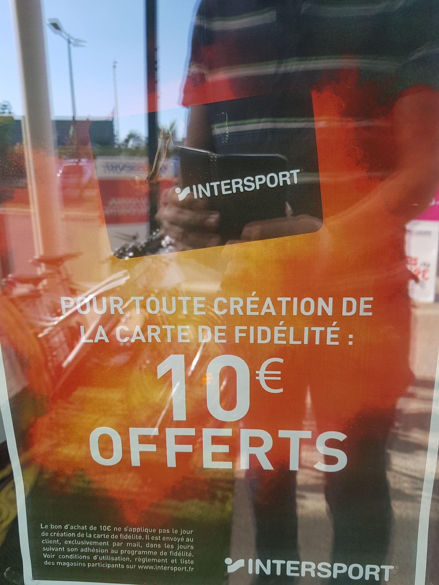 Bon de 10€ offert pour toute souscription à la carte fidélité - Intersport Granville (50)
