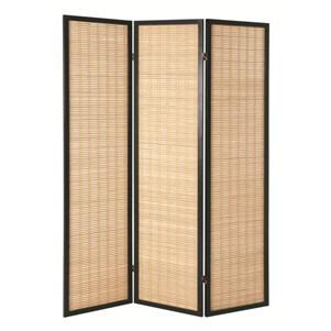 Paravent en bois massif noir (matelas en bamboo)