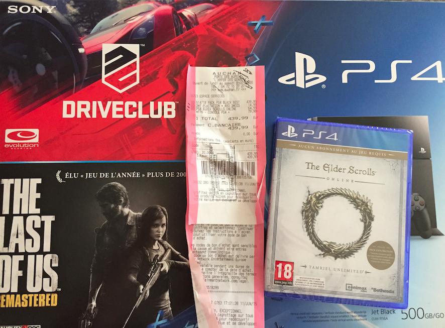 Console PS4 + The Last Of Us + Drive Club + The Elder Scrolls Online + 3 mois d'abonnement au club PS