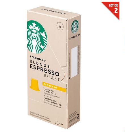 2 Paquets de 10 capsules de café Starbucks compatible nespresso