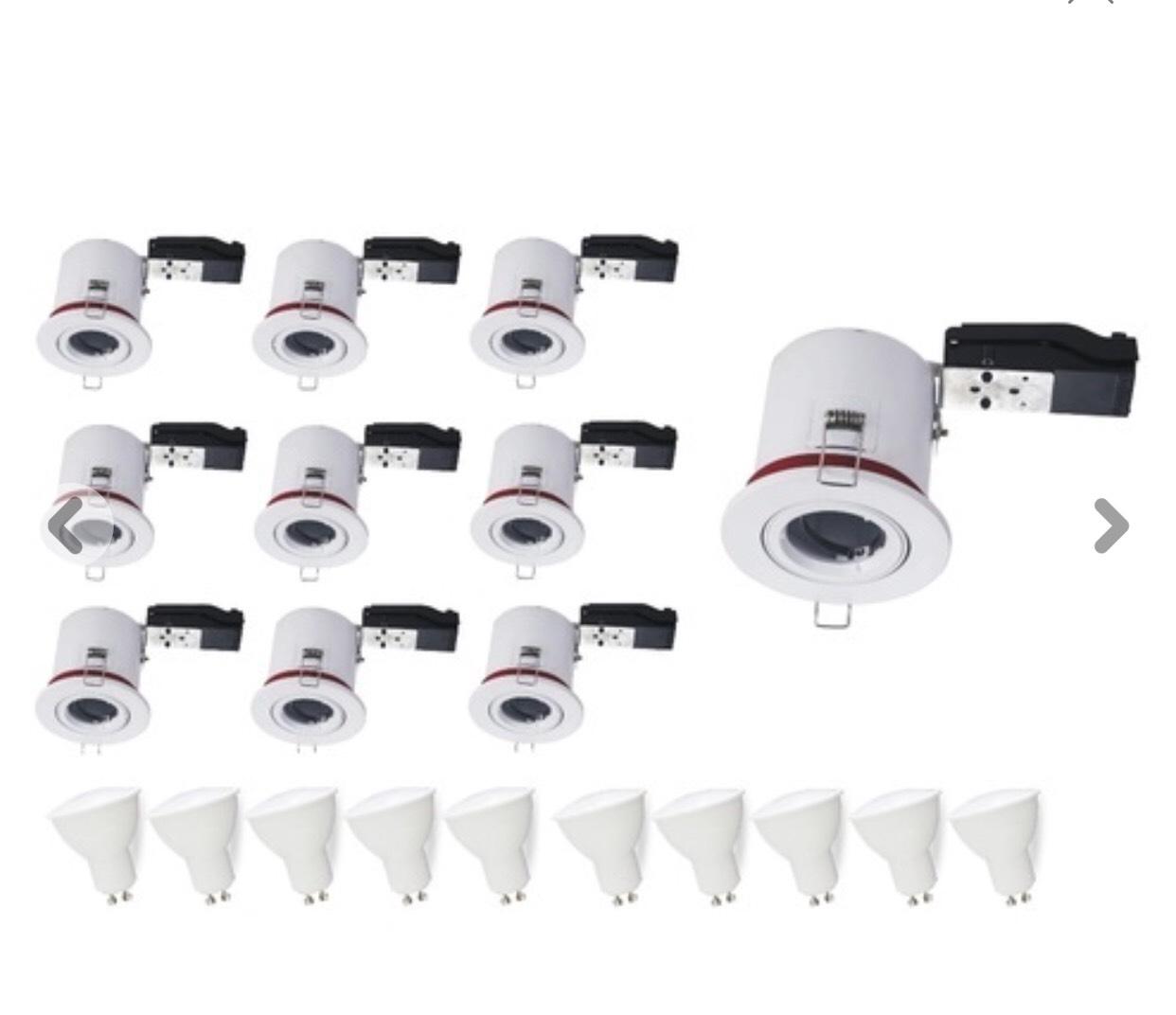 Lot de 10 Spots BBC Orientables - Diamètre 100mm avec douille GU10 automatique et ampoule Led 5W
