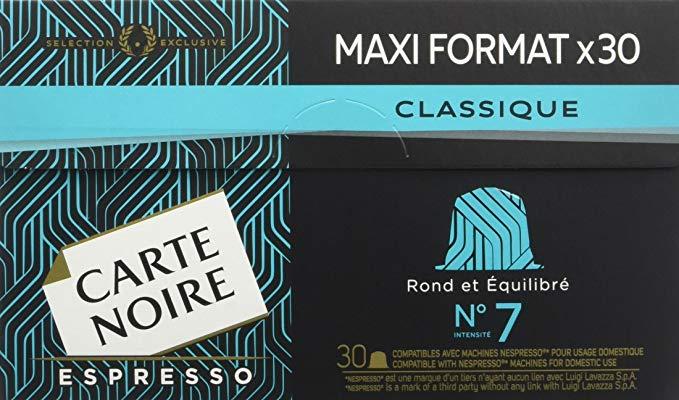 Lot de 2 boîtes de 30 capsules de café Carte Noire Espresso n°7 Classique ou n°9 Intense