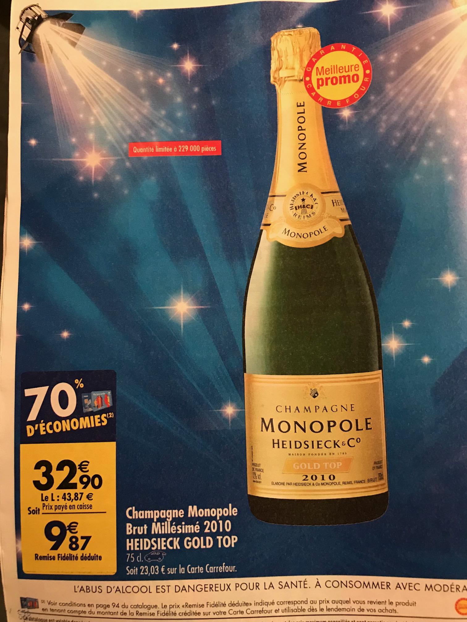 Bouteille de Champagne Monopole Heidsieck Cuvée Gold Top - Millésimé 2010 (via 23.03€ sur la carte de fidélité)