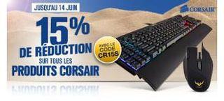 15%  de réduction sur une sélection de produits Corsair