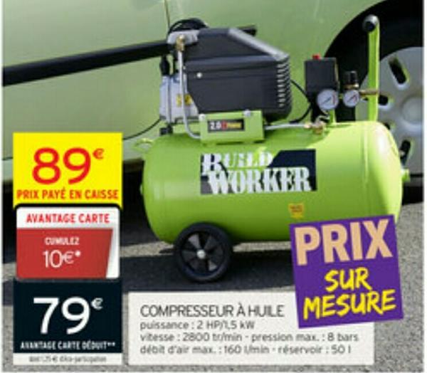 Compresseur à huile 50 litres (10€ sur la carte fidélité)