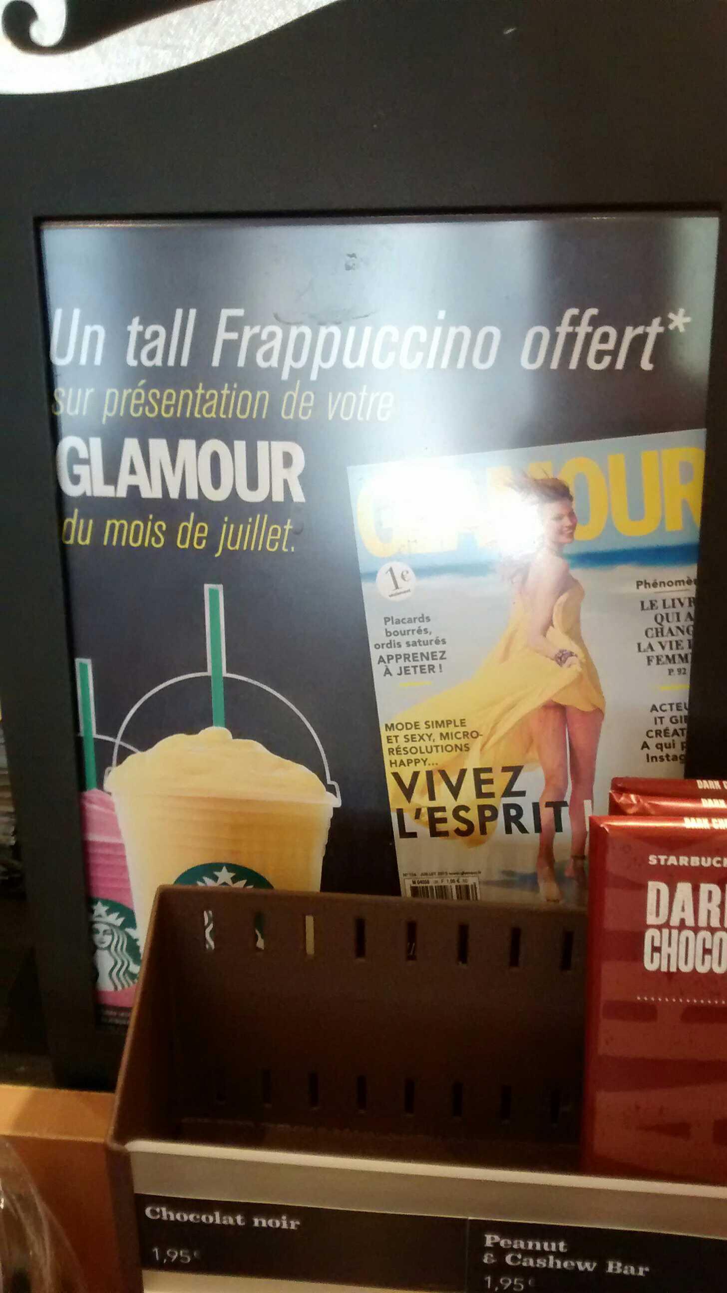 Une boisson offerte sur présentation du magazine Glamour (Juillet)