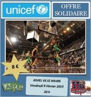 Match basketball : ASVEL - LE HAVRE au profit de l'Unicef !