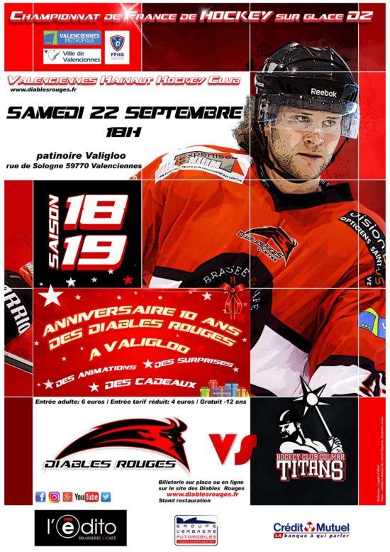 Match de hockey sur glace Valenciennes Gratuit pour les enfants de moins de 12 ans et 4€ pour les autres - Patinoire Valigloö de Valenciennes (59)