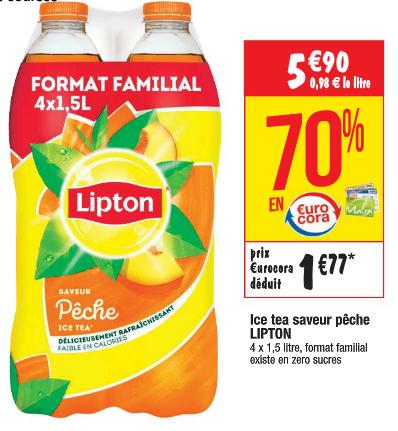 4 Bouteilles d'Ice tea - 4x1.5L (via 4.13€ fidélité)