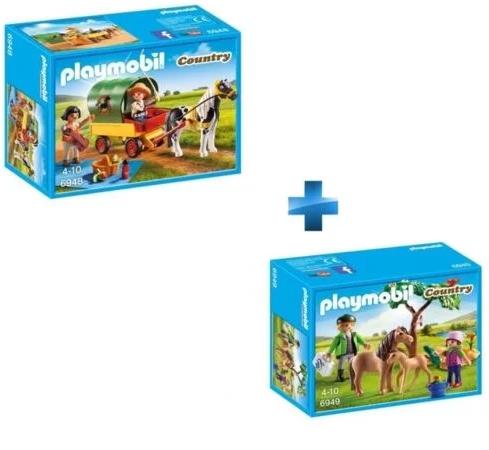 Jouets Playmobil Enfants avec chariot et poney + Vétérinaire avec enfant et poneys