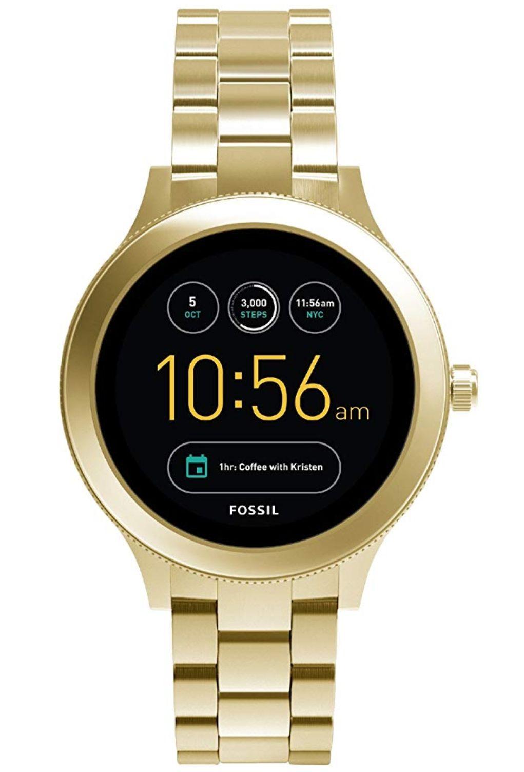 Montre connectée unisexe Fossil en acier inoxydable doré - 3ème génération, Compatible  Android et IOS