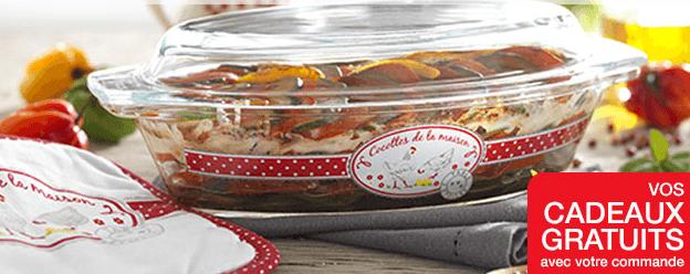 Cocotte en verre et sa Manique assortie offert (sans minimum d'achat) + Livraison gratuite dès 2 articles achetés