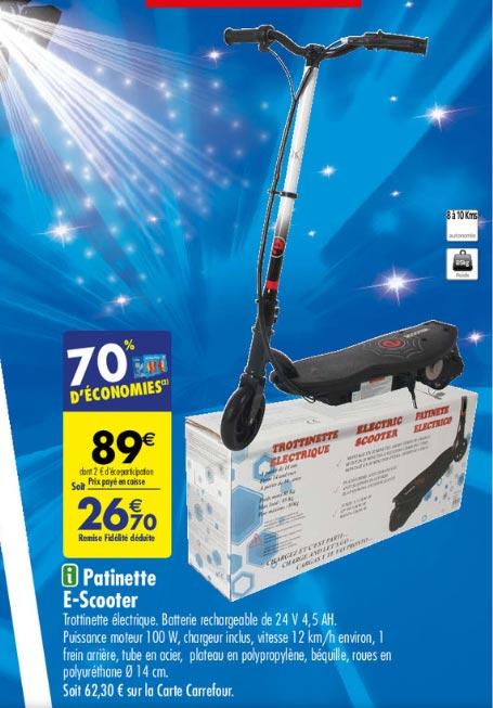 Trottinette électrique e-scooter IMDSC13 - 100W (via 62,30€ fidélité)