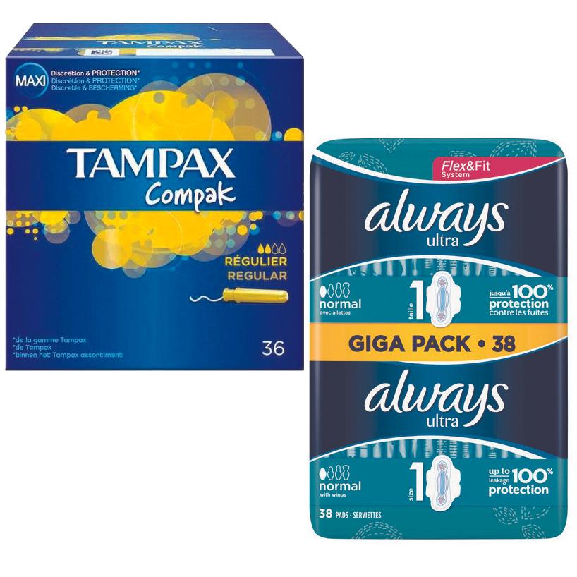 Protections Féminines Always Ultra ou Tampax Compak (via 3€ sur la Carte de Fidélité + BDR)