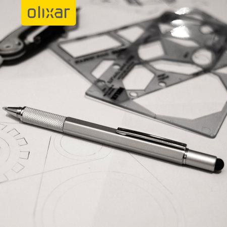 Lot de 2 stylets Olixar HexStyli 6-en-1 - règle / stylo-bille / tournevis intégrés, argent