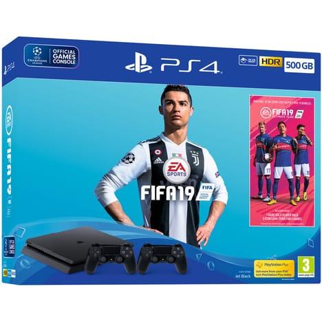 Pack Console PS4 Slim (Noir) - 500 Go + 2ème Manette DualShock 4 + FIFA 19