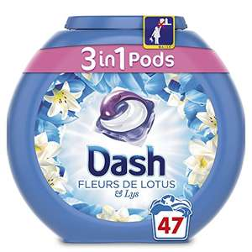 Lot de 3 boîtes de capsules Dash 3 en 1 Pods Fleurs de Lotus Lessive  - 47 Lavages