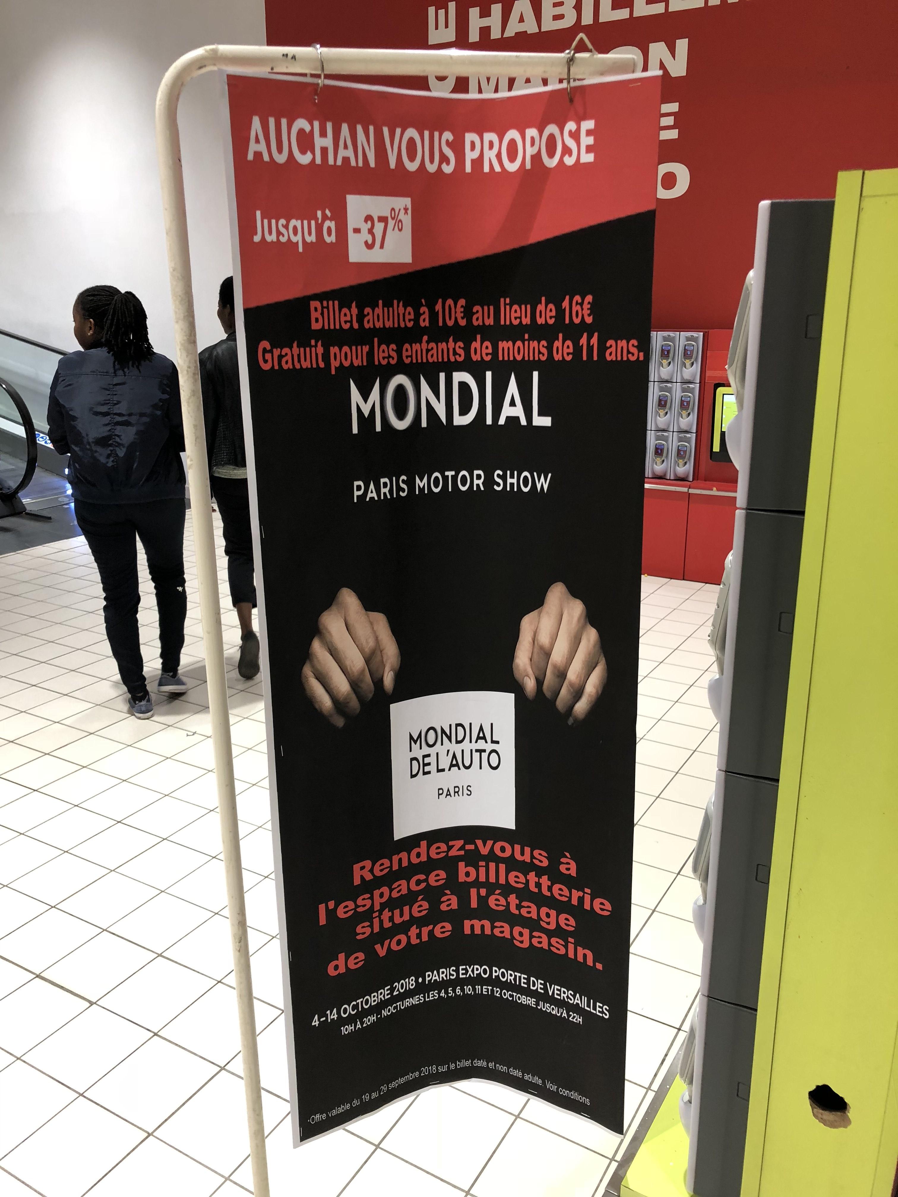 Billet Adulte pour le salon Mondial Paris Motor Show (Mondial de l'Auto) - du 4 au 14 octobre, à Paris Expo Porte de Versailles Paris 15ème)