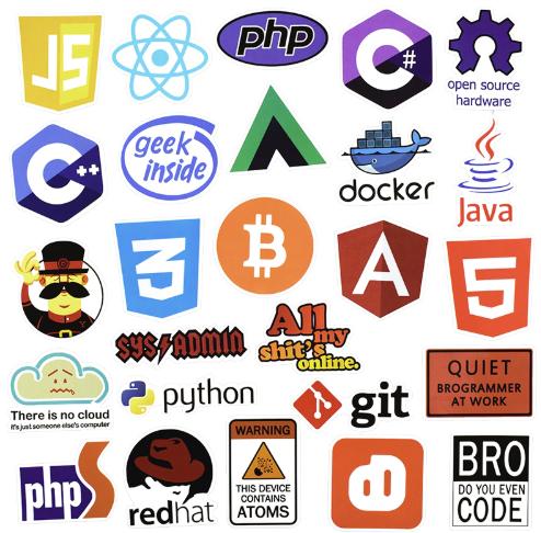 Lot de 50 stickers en rapport avec la programmation
