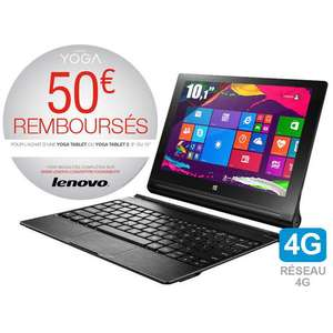 Tablette 10,1'' Lenovo Yoga Tablet 2 - Intel Z3745 Quad Core - 2 Go de ram - 32 Go - 4G - Win 8.1 + Clavier (via ODR 50€)