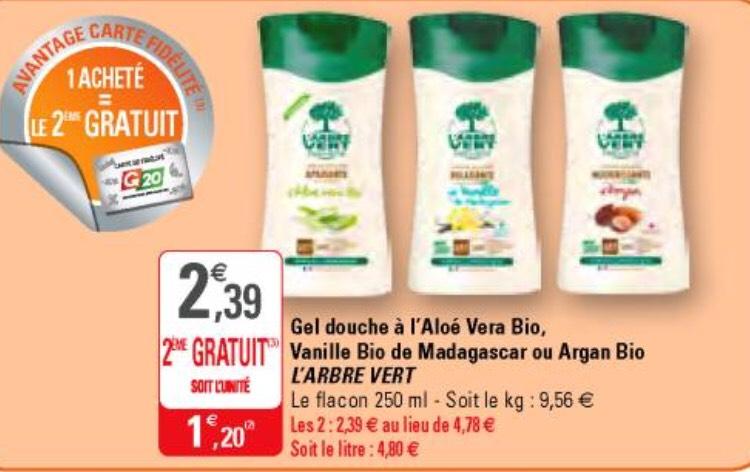 [Carte fidélité] 2 gels douche Arbre Vert - Plusieurs parfums (via BDR de 0.5€)