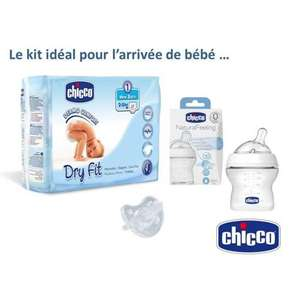 Coffret naissance Chicco: Couches Dry Fit T1 + Biberon Natural Feeling 150ml + Sucette Physio Soft Silicone