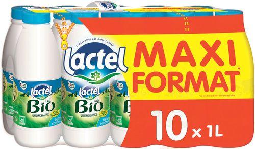 Lot de deux pack de Lait BIO Lactel - 2*10L (Demi-écrémé ou écrémé)