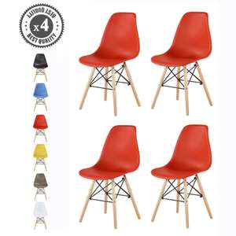 Lot de 4 chaises avec pieds en bois - Style scandinave (Plusieurs coloris) + 11€ en SuperPoints