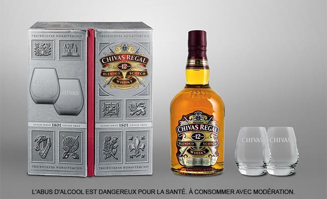 Coffret dégustation Whisky Chivas Regal 12 ans : 1 bouteille 70cl + 2 verres
