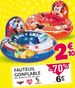 Fauteuil gonflable enfant - Cars, Minnie ou Mickey - 60x40cm