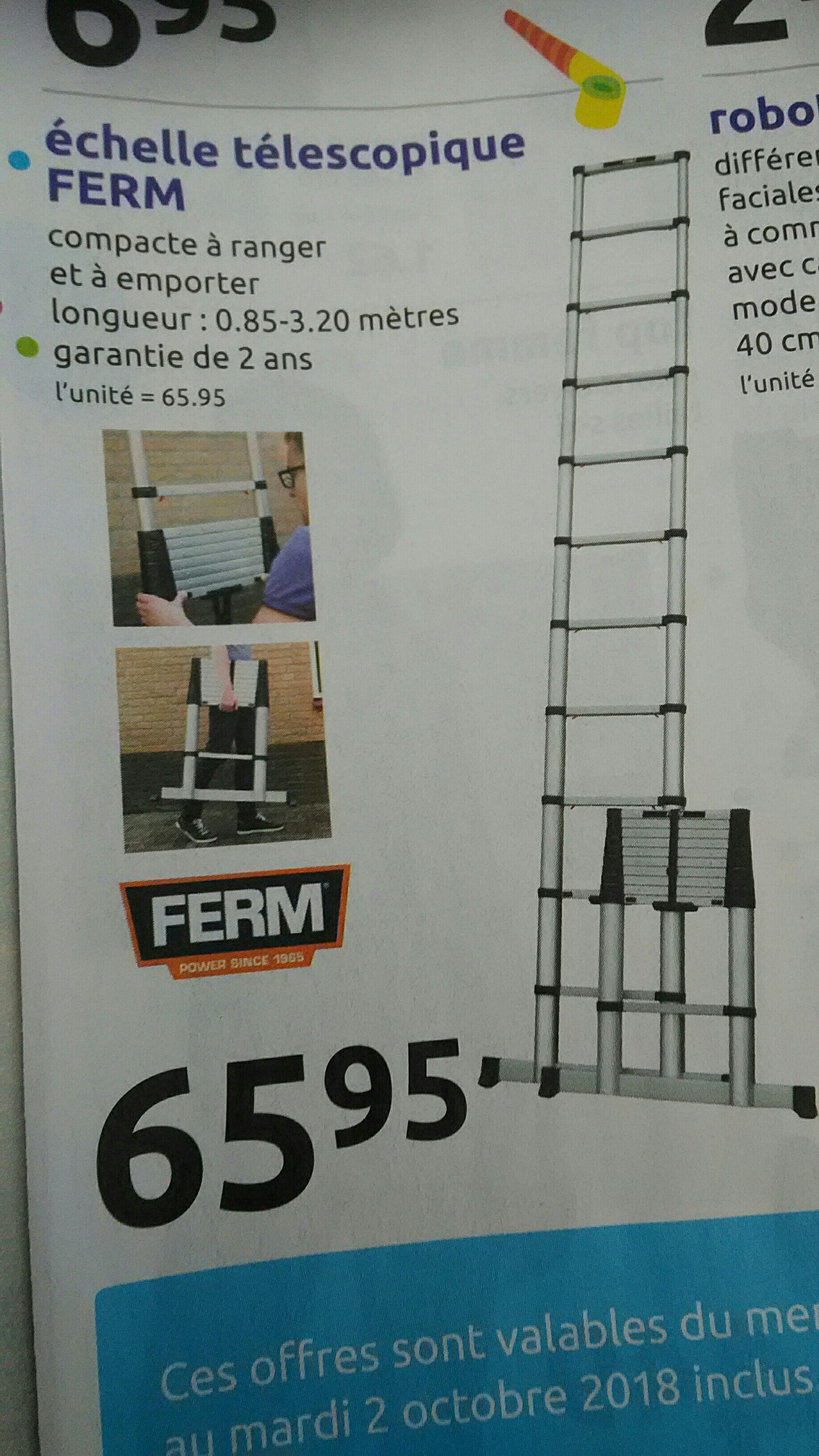 Échelle télescopique Ferm - de 0.85m à 3.2m