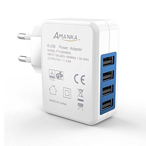 Chargeur secteur USB Amanka - 4 ports USB 4.8A, 5V, iSmart, blanc (vendeur tiers)