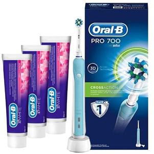 Brosse à dents électrique Oral-B Pro 700 CrossAction + 3 dentifrices 3D White