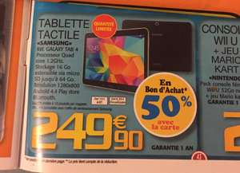 Tablette Samsung Galaxy Tab 4 (avec 50% en bon d'achat)