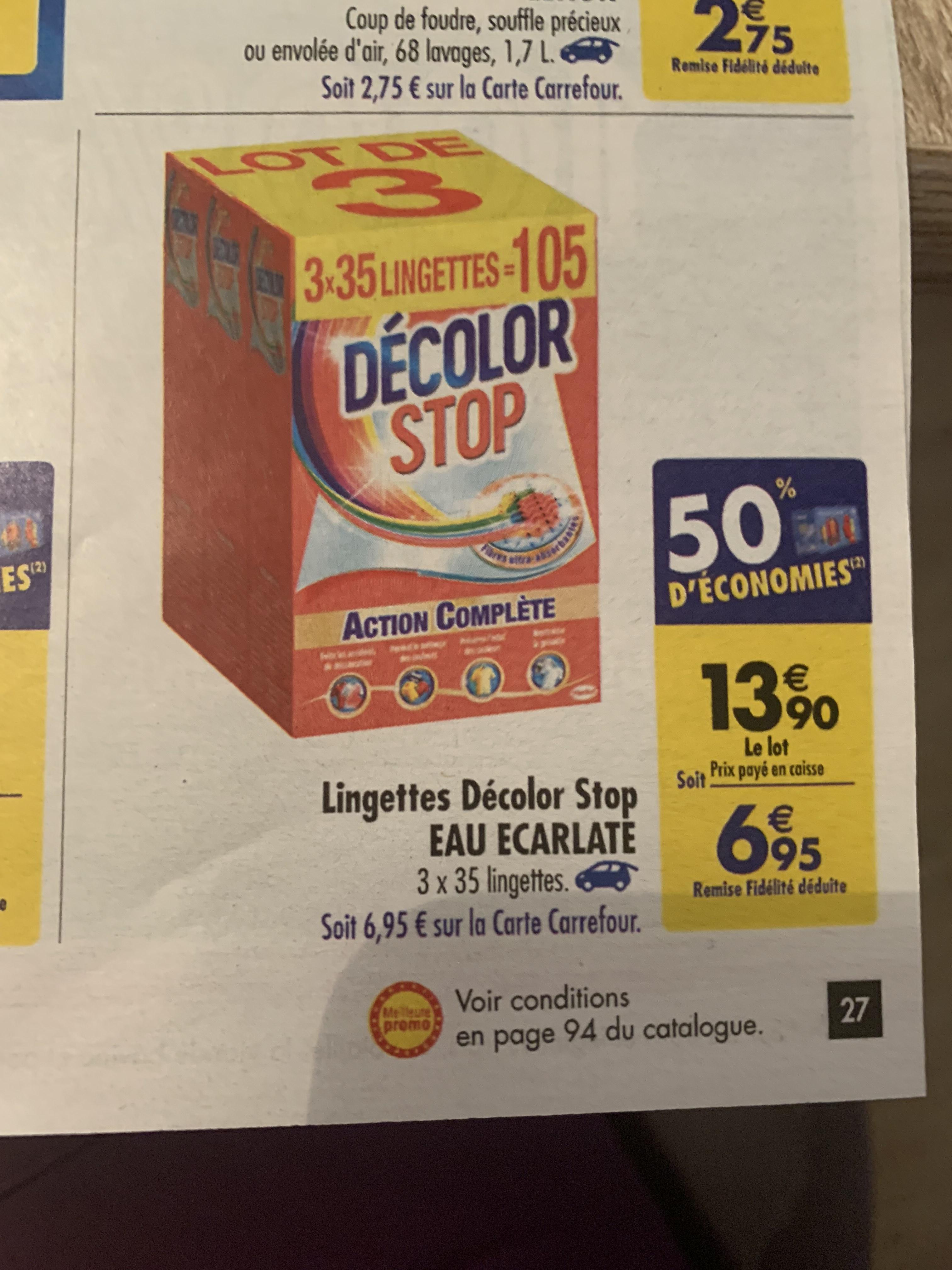 Lot de 3 boites de lingettes Decolor Stop Eau Écarlate - 3x35 (via 6,95€ remboursé sur la carte fidélité)