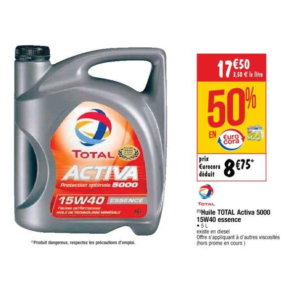 Huile Moteur Total Activa (5L) - Essence / Diesel, Différentes Viscosités - Ex : Activa 5000 15W40 (via 8,75€ sur la carte)