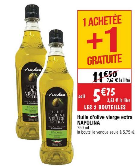 Lot de 2 Bouteilles d'huile d'olive vierge extra Napolina - 2 x 75cl