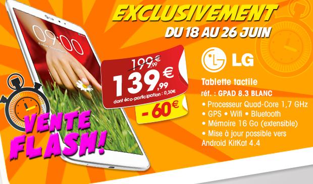 Tablette LG G Pad 8.3 16 Go - Blanc