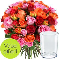 Bouquet de fleurs (40 tiges) + vase offert