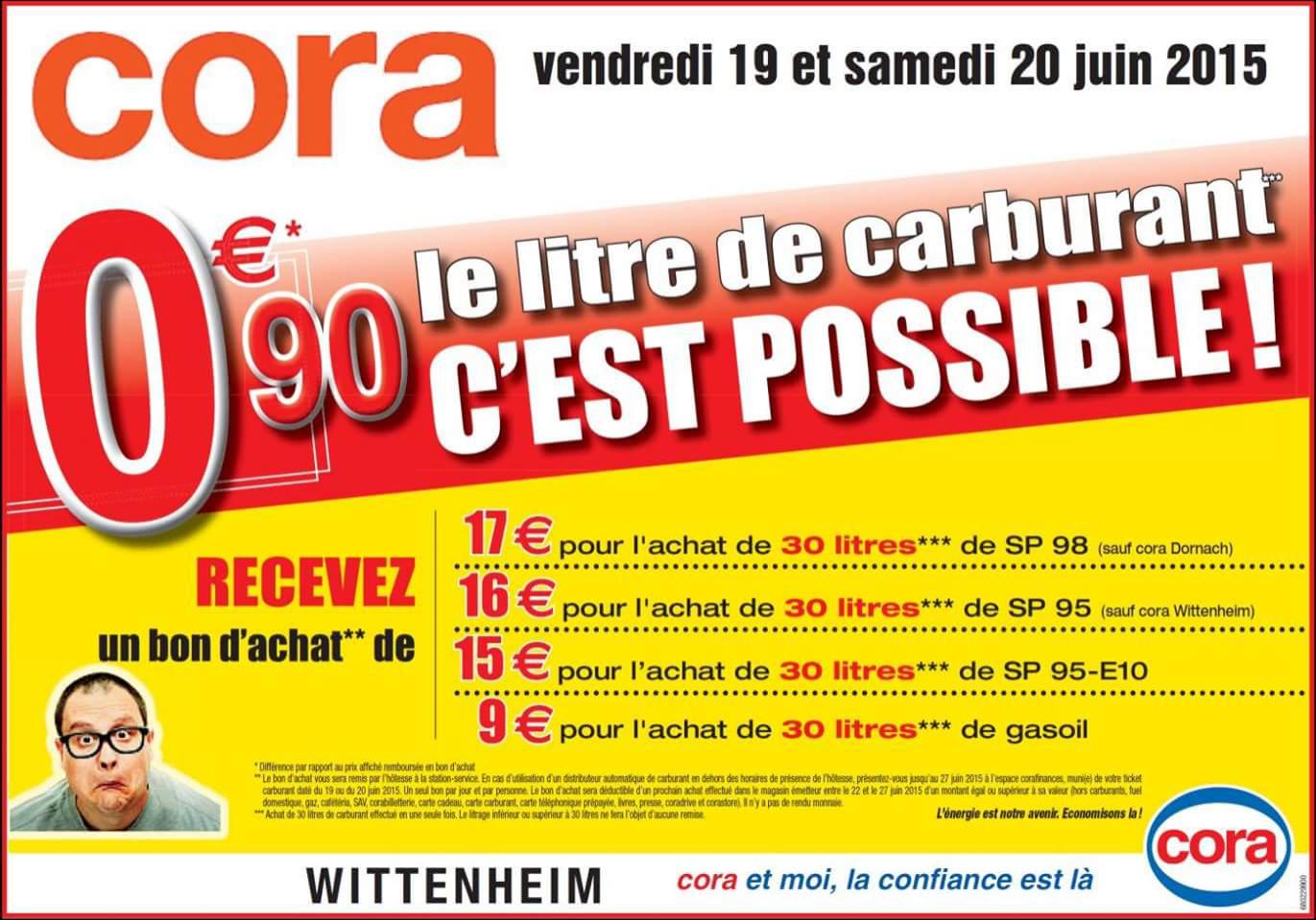 Promotion sur les carburants : 0.90€ le litre - Ex: 30 litres de SP 98 (avec 17€ en bon d'achat)
