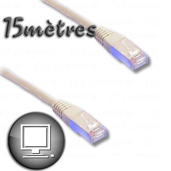 Câble RJ45 cat.6 blindé FTP 15m